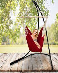 El soporte de silla hamaca Amanka es una elegante estructura para colgar tu asiento colgante